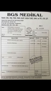 Invoice from Turkey wholesalers